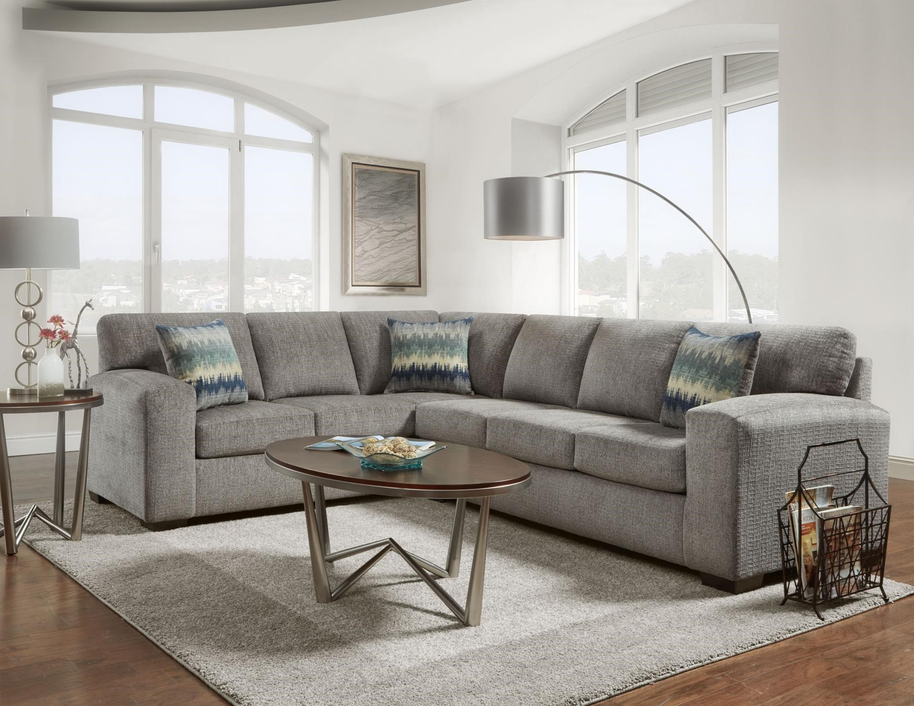 silvertone 2 pc sectional sofa