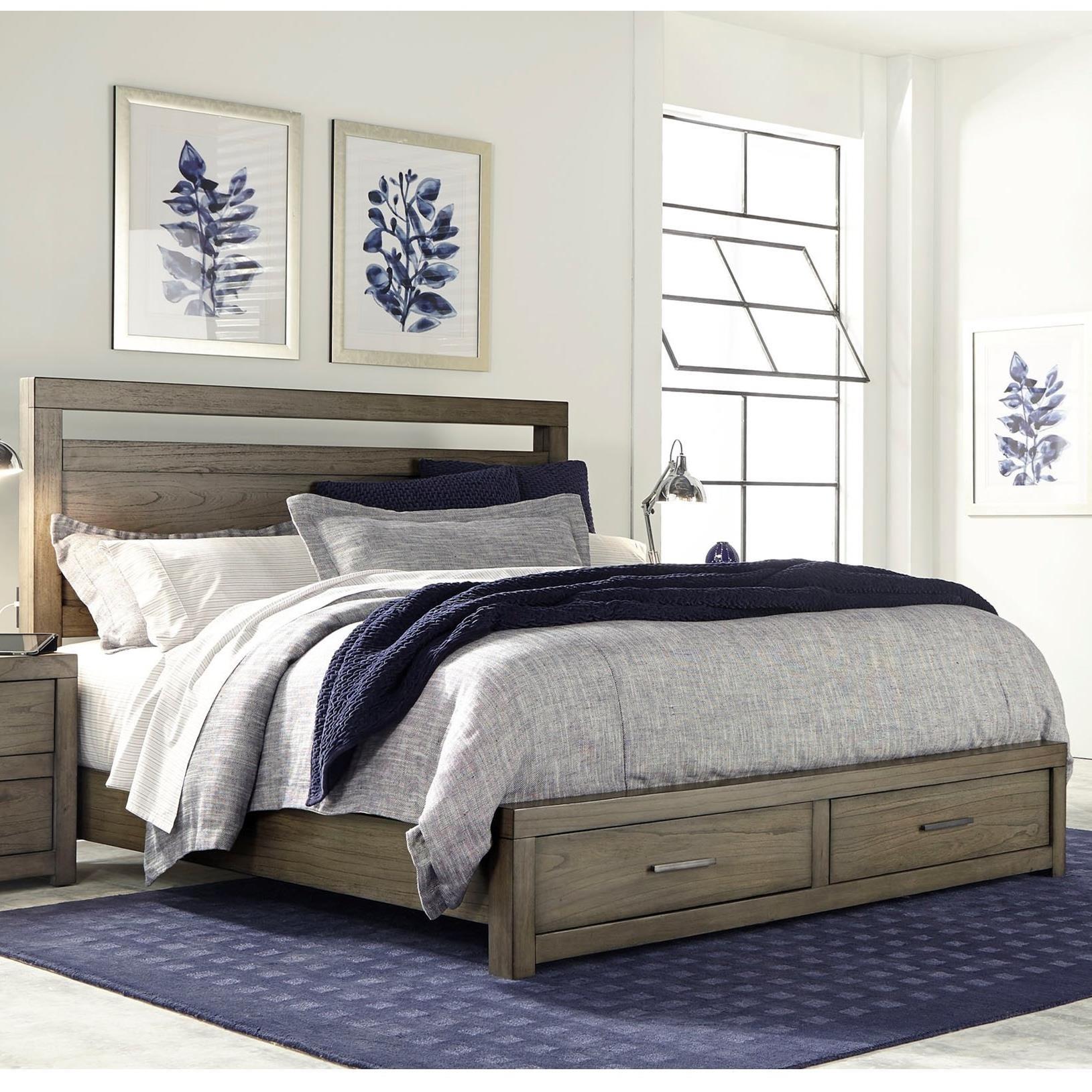 modern loft queen panel storage bed