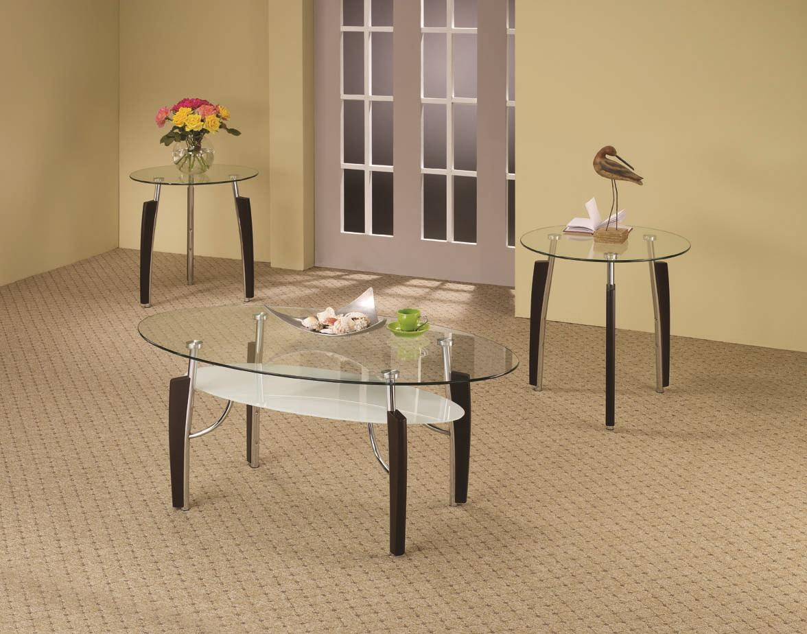 occasional table sets 3 piece glass top occasional set