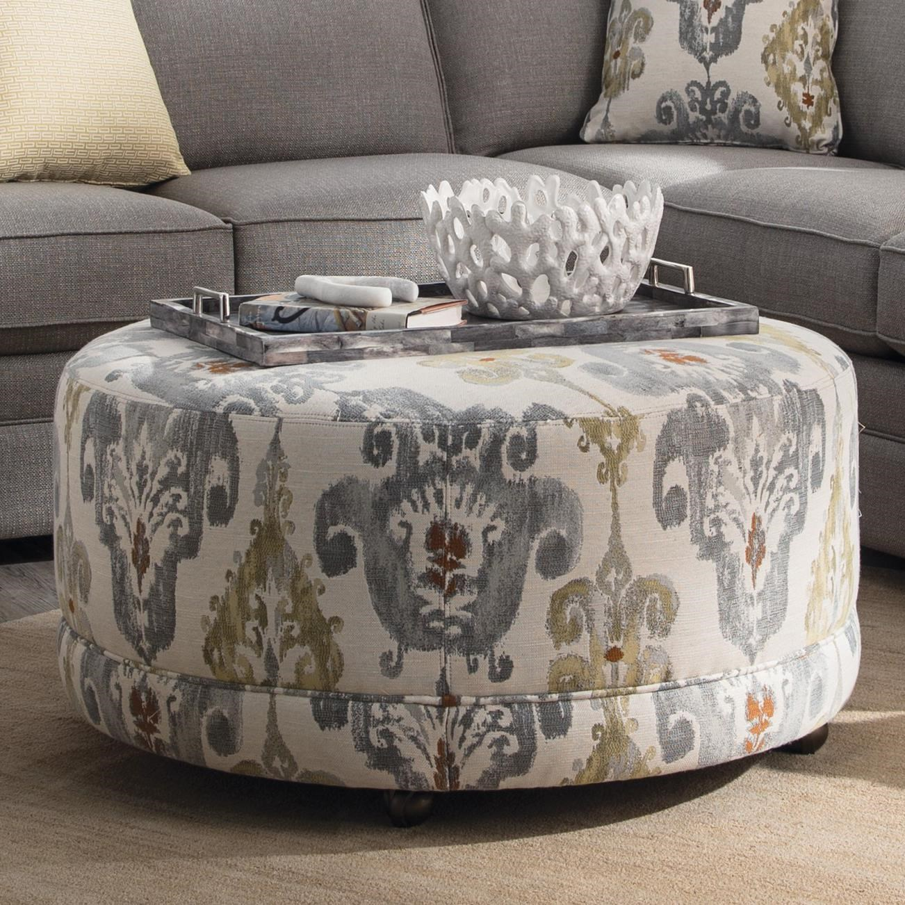accent ottomans round contemporary ottoman with casters by hickory craft at godby home furnishings