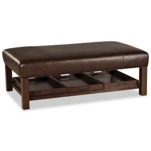 large rectangular leather ottoman