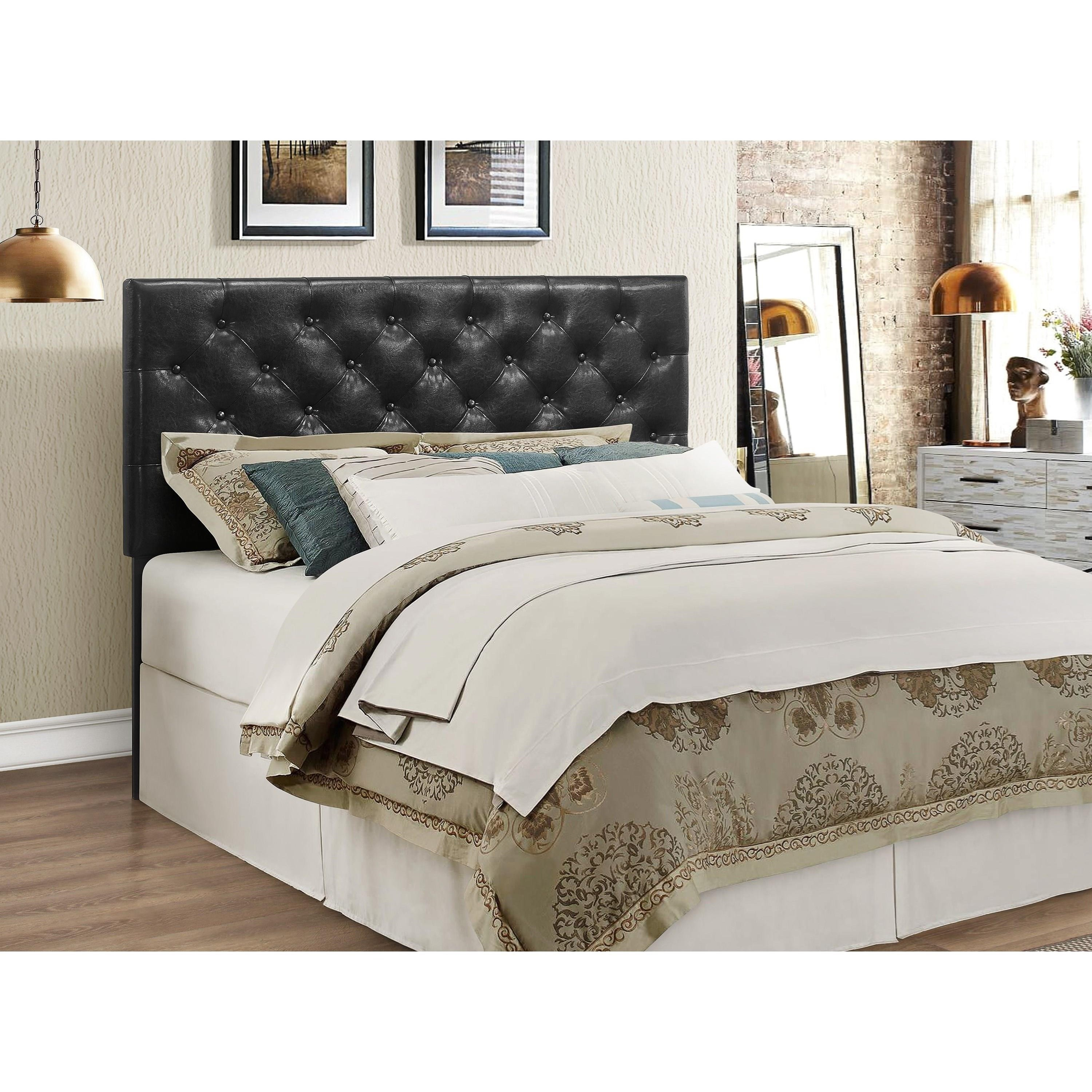 Crown Mark Mackenzie Full Queen Black Upholstered Headboard With Button Tufting Royal Furniture Headboards