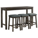Elements Shelter Bay Transitional Counter Height Multipurpose Bar Table Set With Usb Port Royal Furniture Pub Table And Stool Sets
