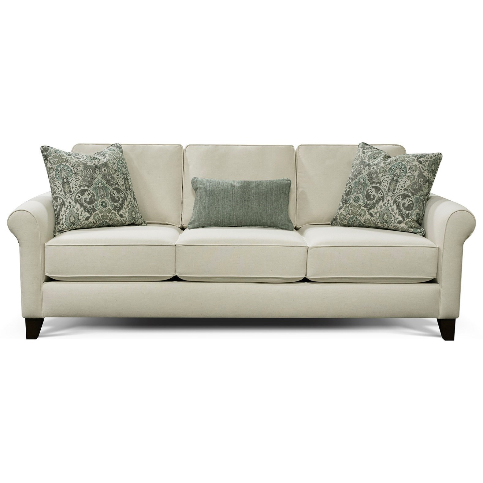 England Spencer Transitional Sofa With Rolled Arms Reeds