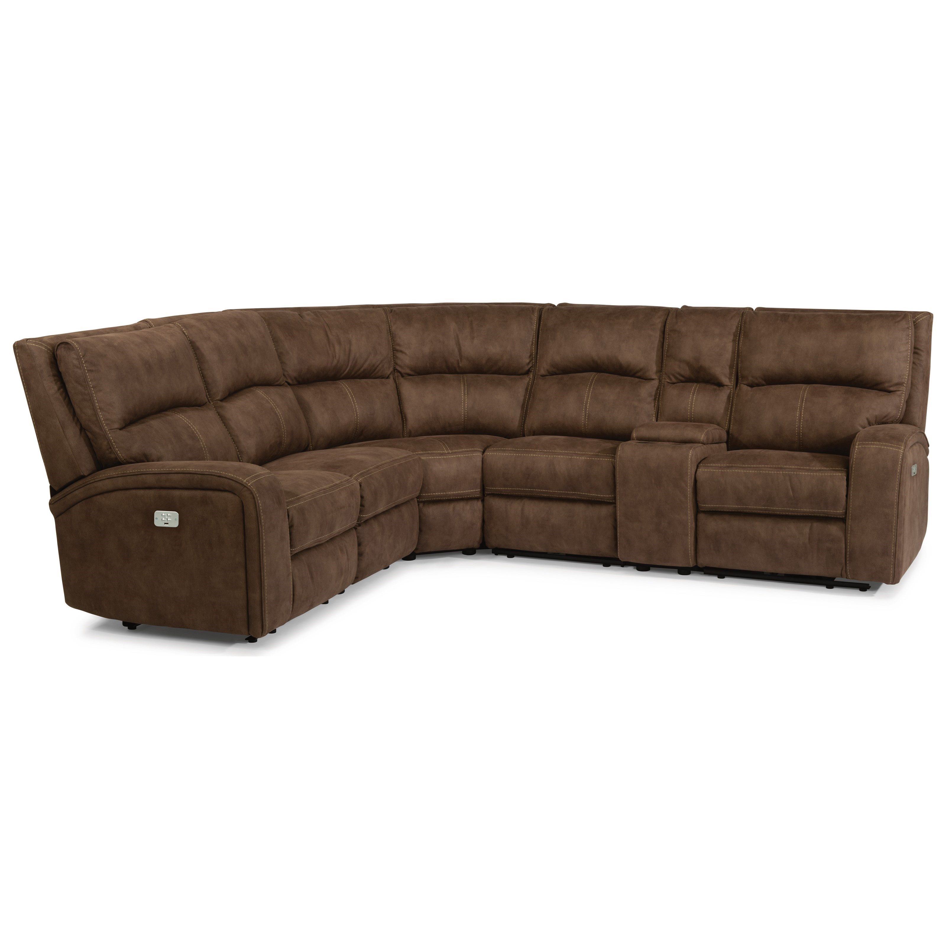 latitudes nirvana contemporary power reclining 5 seat sectional with power headrests usb ports and console by flexsteel at efo furniture outlet