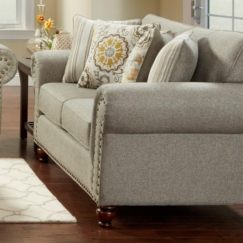 Fusion Furniture 3110 3111romero Sterling Transitional Loveseat