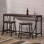 Hillsdale Trevino 3 Piece Industrial Style Counter Height Bar Set Wayside Furniture Pub Table And Stool Sets