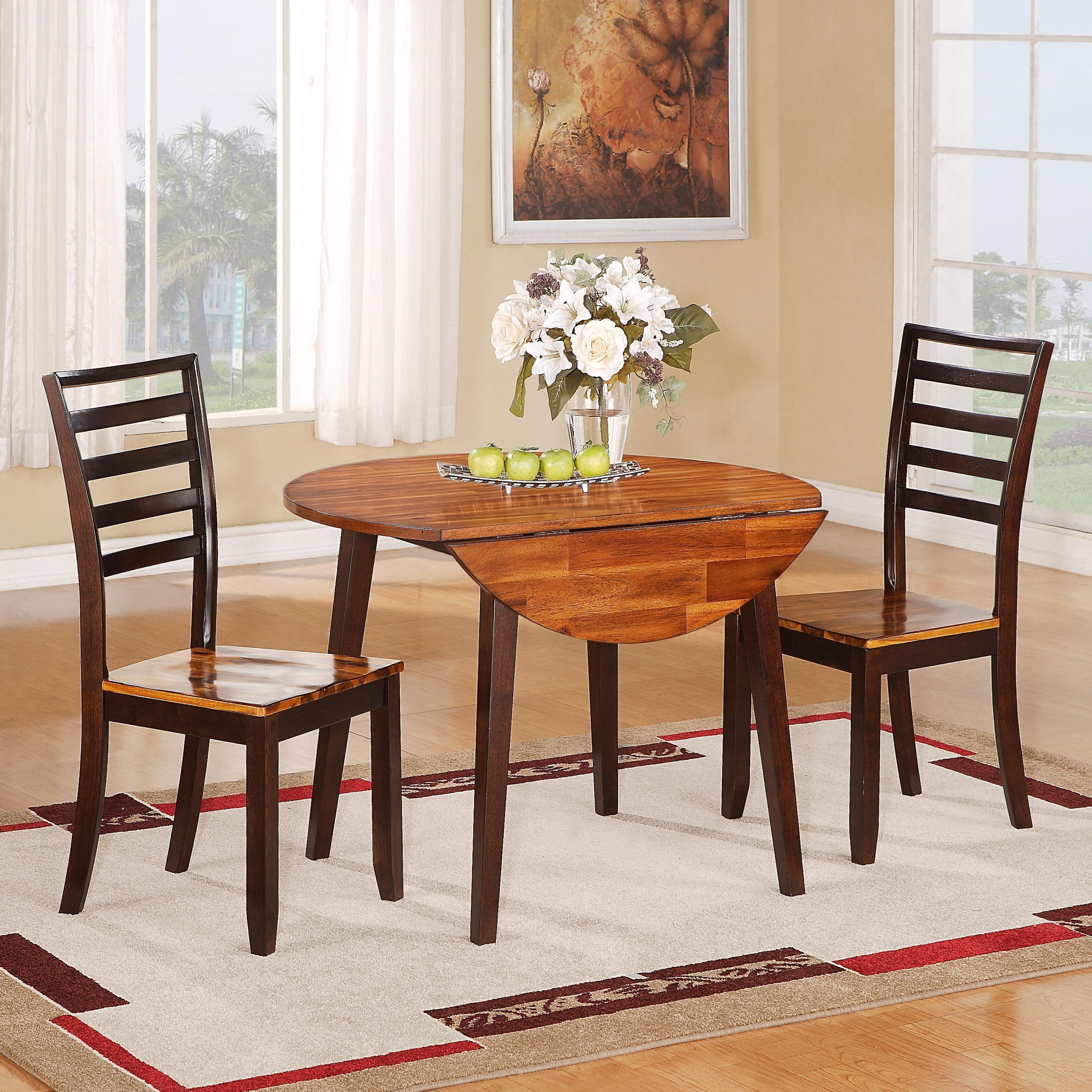 1267 dining casual five piece round drop leaf table and ladder backed chair set by holland house