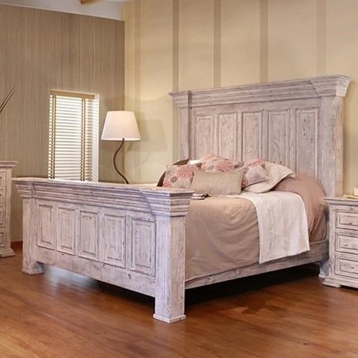 International Furniture Direct Terra White Oversized Queen Panel Bed With Distressed Finish Godby Home Furnishings Panel Beds