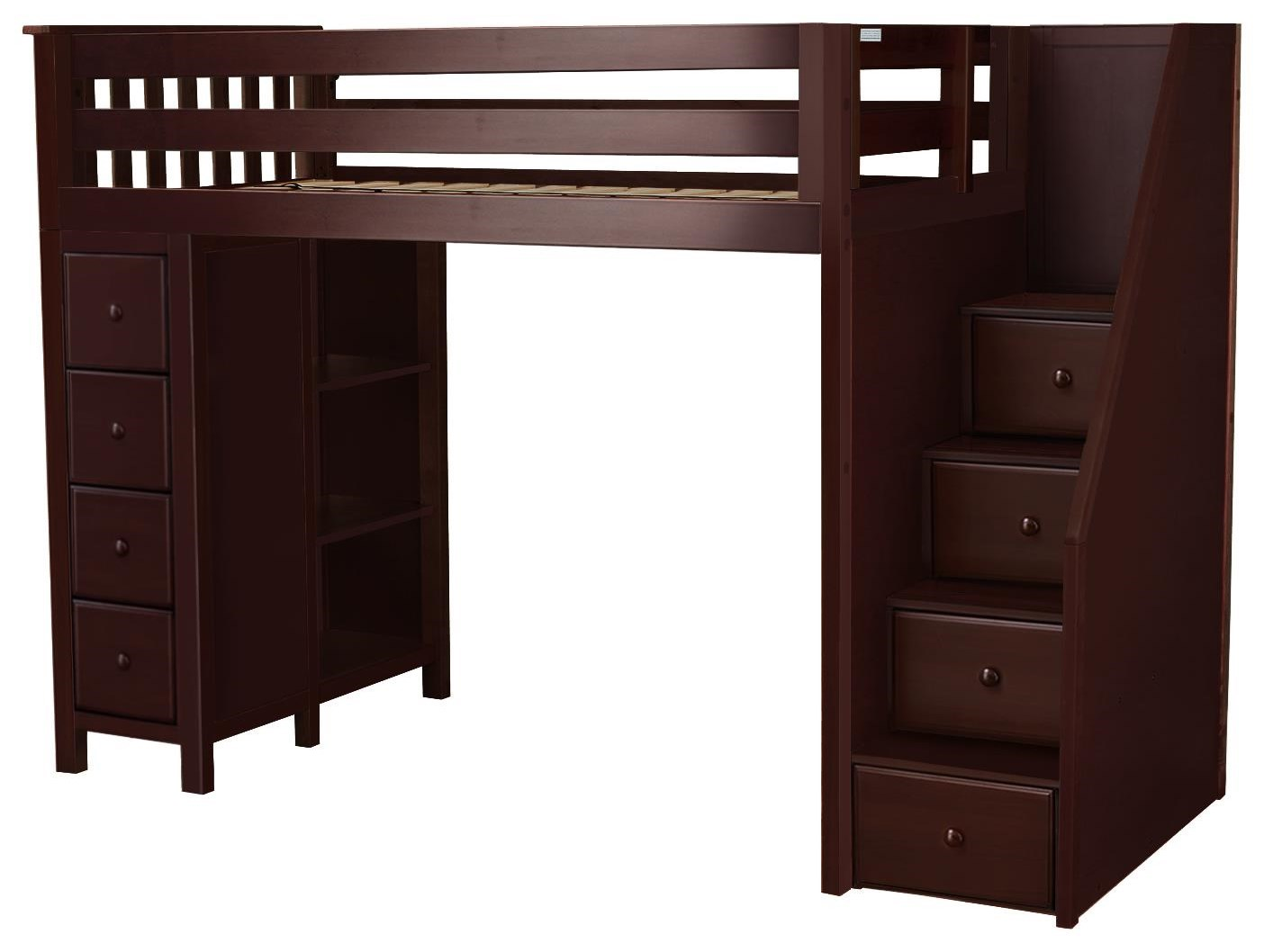 all in ones oxford twin staircase high loft bed in espre