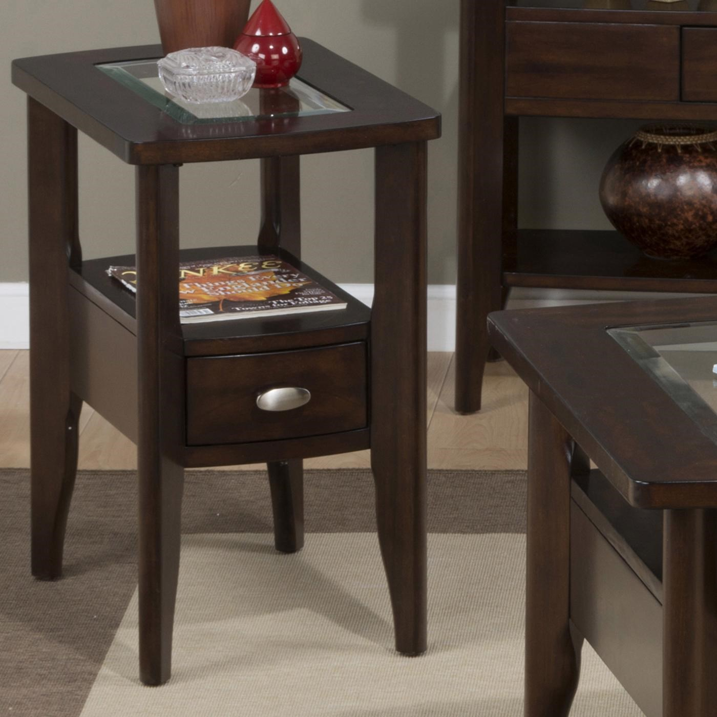 Jofran Montego Merlot Chairside Table With Glass Top