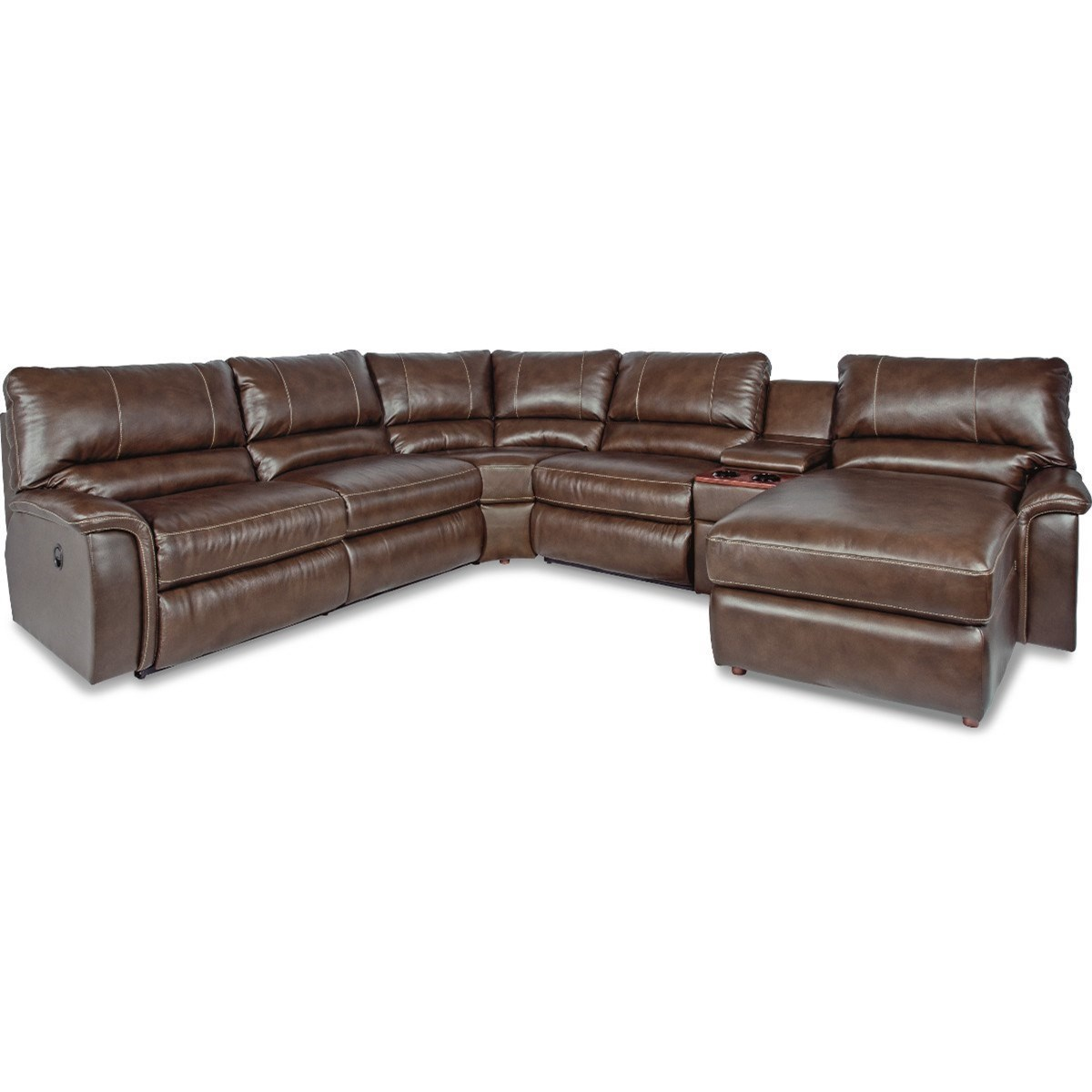 aspen 6 pc pwr reclining sectional sofa