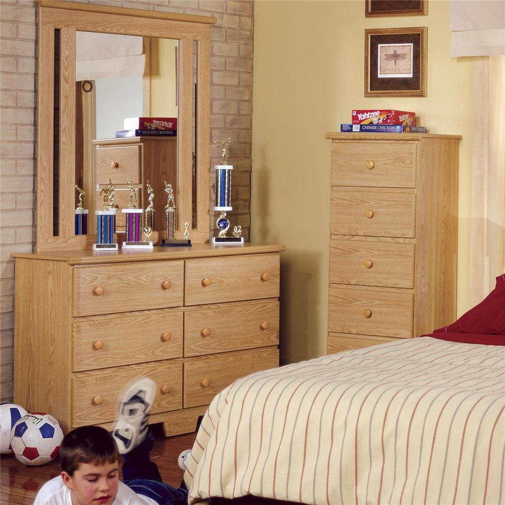 49 inch 6 drawer dresser and mirror set