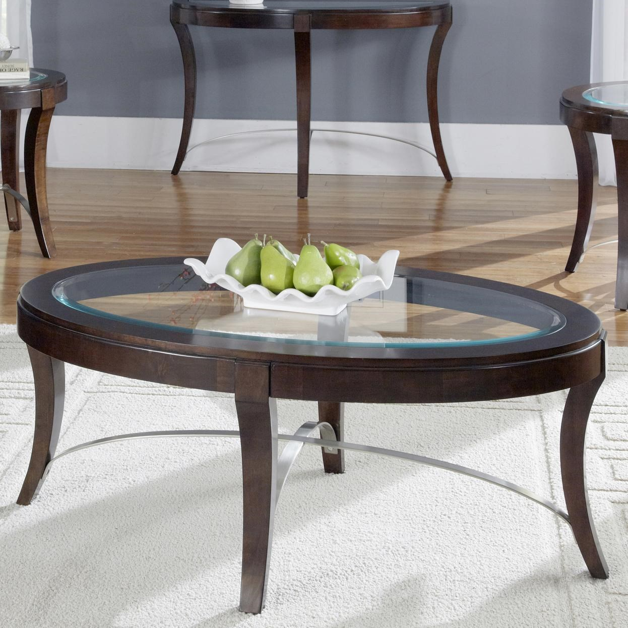 avalon glass top oval cocktail table by liberty furniture at furniture fair north carolina