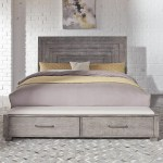 Liberty Furniture Modern Farmhouse 406 Br Ksb Contemporary King Storage Bed With 2 Footboard Drawers Thornton Furniture Platform Beds Low Profile Beds