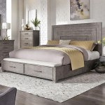 Liberty Furniture Modern Farmhouse Contemporary King Storage Bed With 2 Footboard Drawers Royal Furniture Platform Beds Low Profile Beds