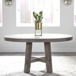 Liberty Furniture Modern Farmhouse Contemporary Round Dining Table With 12 Removable Leaf Royal Furniture Kitchen Tables