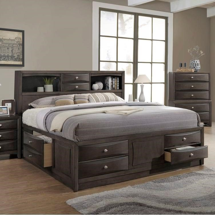 Lifestyle Todd Gray Queen Storage Bed W Bookcase Headboard Royal Furniture Bookcase Beds