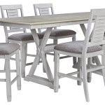 Millennium Teganville D755 32 6x124 7 Piece Rectangular Counter Height Extension Table And 6 Upholstered Bar Stools Set Sam Levitz Outlet Dining 7 Or More Piece Sets