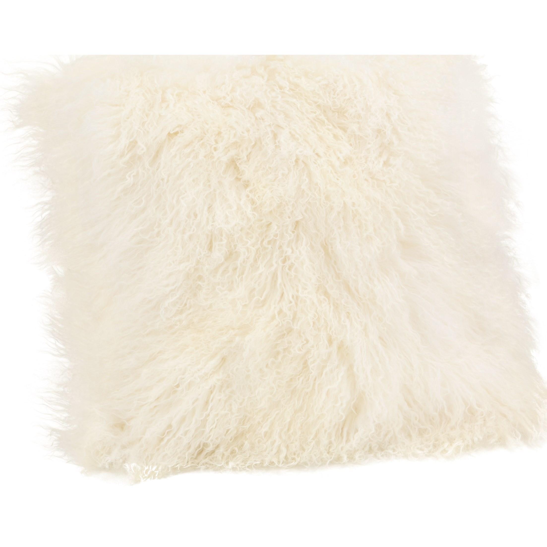 throws lamb fur pillow large cream