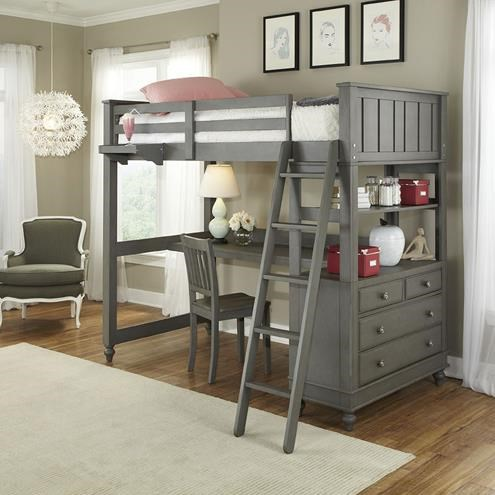 lake house twin loft bed with desk