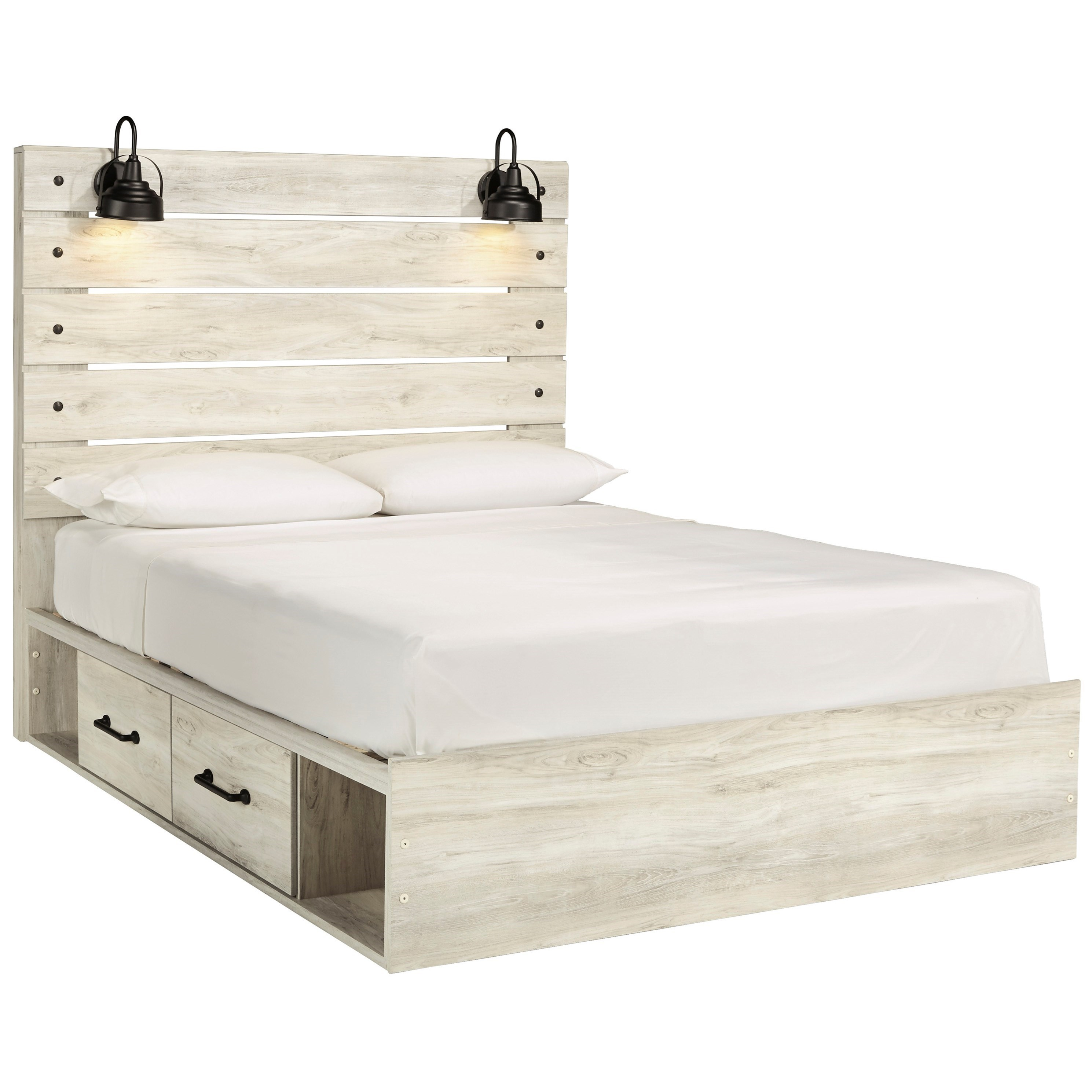 Ashley Signature Design Cambeck Rustic Queen Storage Bed With 4 Drawers Industrial Lights Dunk Bright Furniture Platform Beds Low Profile Beds