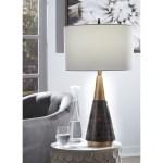 Signature Design By Ashley Lamps Contemporary L327244 Lyrah Black Gold Finish Wood Table Lamp Sam Levitz Furniture Table Lamps