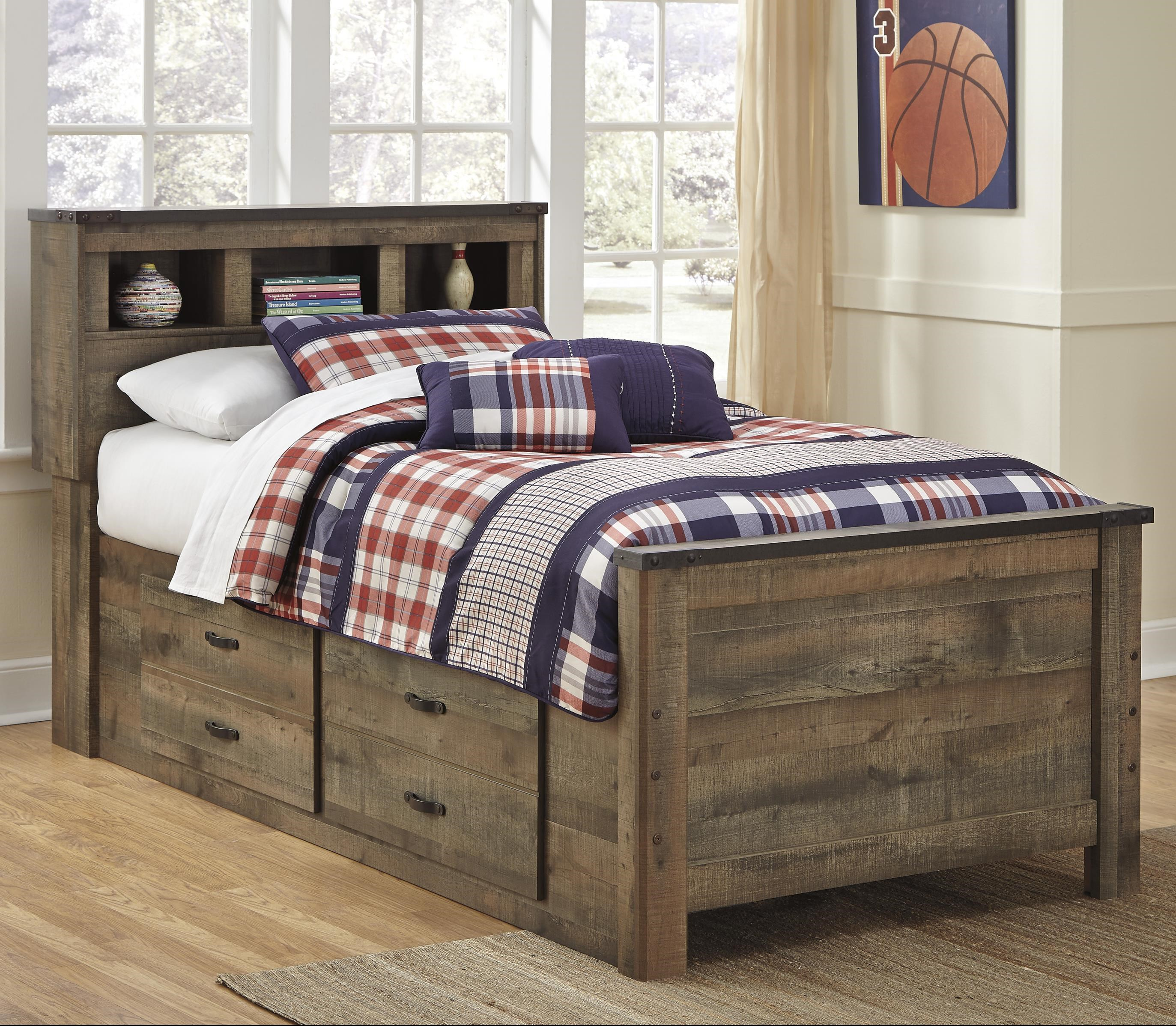 Signature Design By Ashley Trinell Rustic Look Twin Bookcase Bed With Under Bed Storage Royal Furniture Bookcase Beds