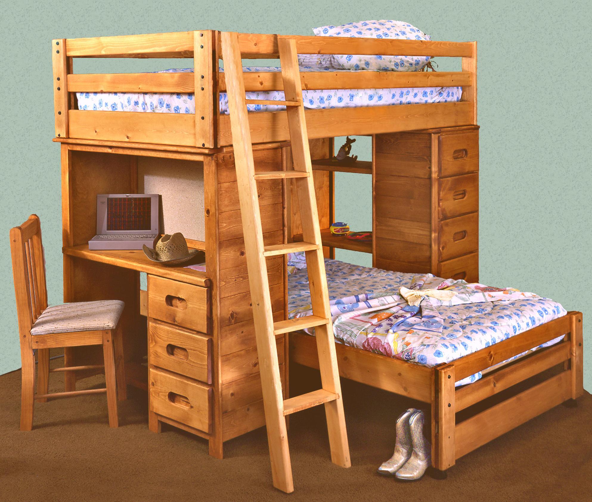 Trendwood Bunkhouse Twin Twin Bronco Loft Bed With Built In Desk Conlin S Furniture Loft Beds