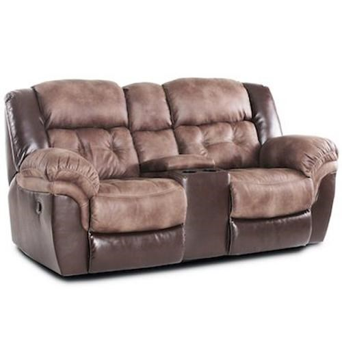 HomeStretch 139 Casual Reclining Loveseat With Console