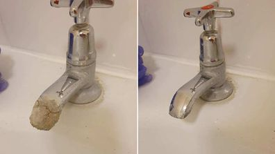 how to get limescale off taps woman