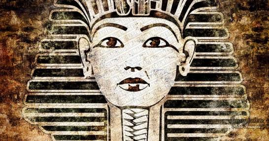 Egyptian pharaoh face grunge illustration