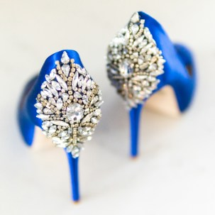 A pair of blue 'Nilla' Peep Toe Pump