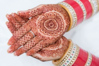 A bride's henna tattoos on her hands.
