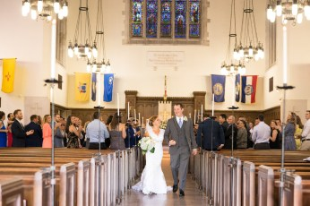 A couple just married in the chapel at The Citadel.