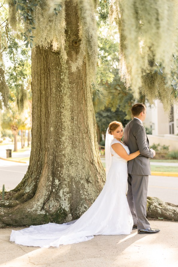 A couple during their First Look prior to a ceremony at The Citadel.