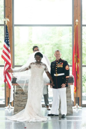 A couple is introduced following a ceremony at the National Museum of the Marine Corps