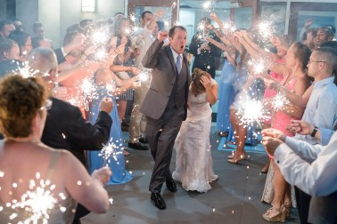 Sparkler exit after wedding at the Citadel in Charleston SC. Charleston wedding photography by Imagery by Erin