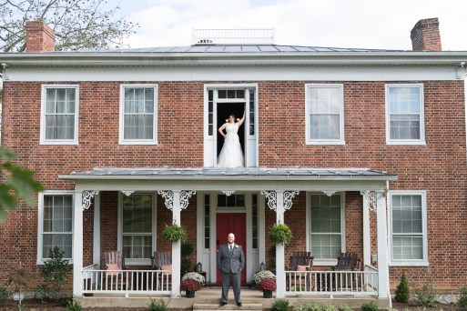 Bride and groom portrait at Stover Hall in Luray, Virginia