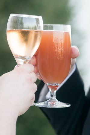 A bride and groom toast after their wedding at Hermitage Hill Farm in Waynesboro, Virginia.