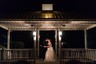 A bride and groom photographed at night on the grounds of Hermitage Hill Farm in Waynesboro, Virginia.