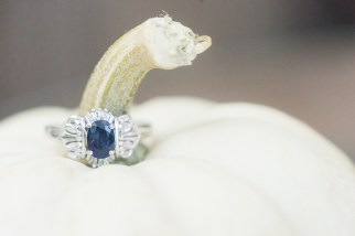 A vintage engagement ring photographed with a white pumpkin during a fall wedding at Hermitage Hill Farm in Waynesboro, Virginia.