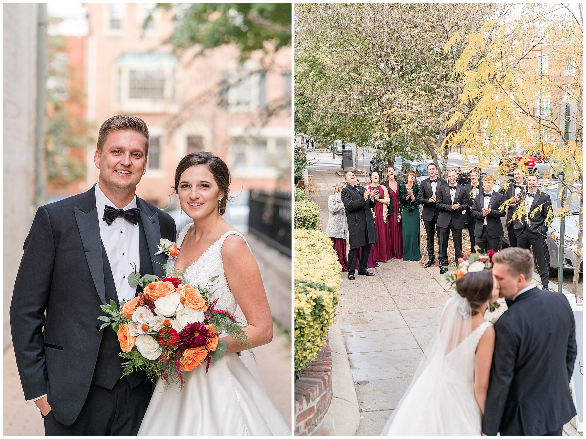 In one photo a bride and groom stand next to each other and smile at the camera. In the second photo, a bride and groom face a group of happy, cheering family and friends during their Washington DC wedding.