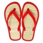 Chinelo de palha japonês em nylon vermelho liso / sandália zori / lavável, leve e fresca / combinam com qualquer ocasião