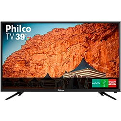 TV LED 39″ Philco PTV39N91D HD com Conversor Digital 2 HDMI 2 USB Som Surround 60Hz Preta