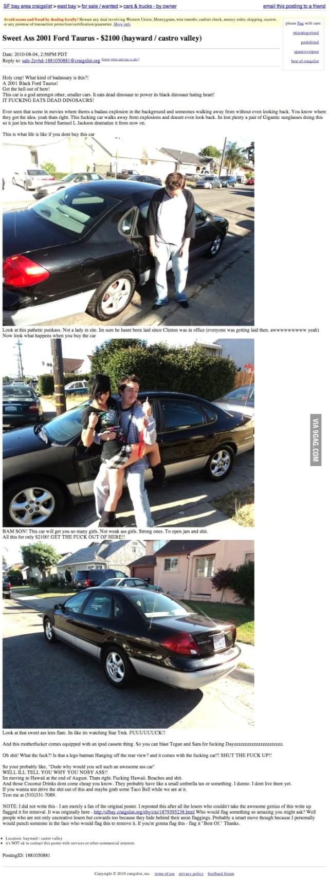 Best Craigslist Ad For A Car, Ever. - 19GAG