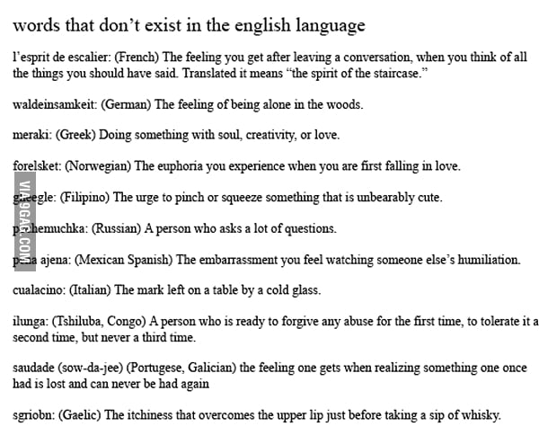 Words That Dont Exist In The English Language 9GAG