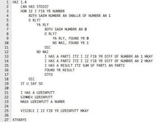 An example of code written in LOLCODE - 9GAG