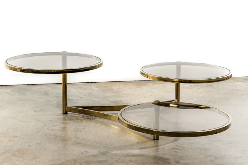 milo baughman tri level brass glass swivel table