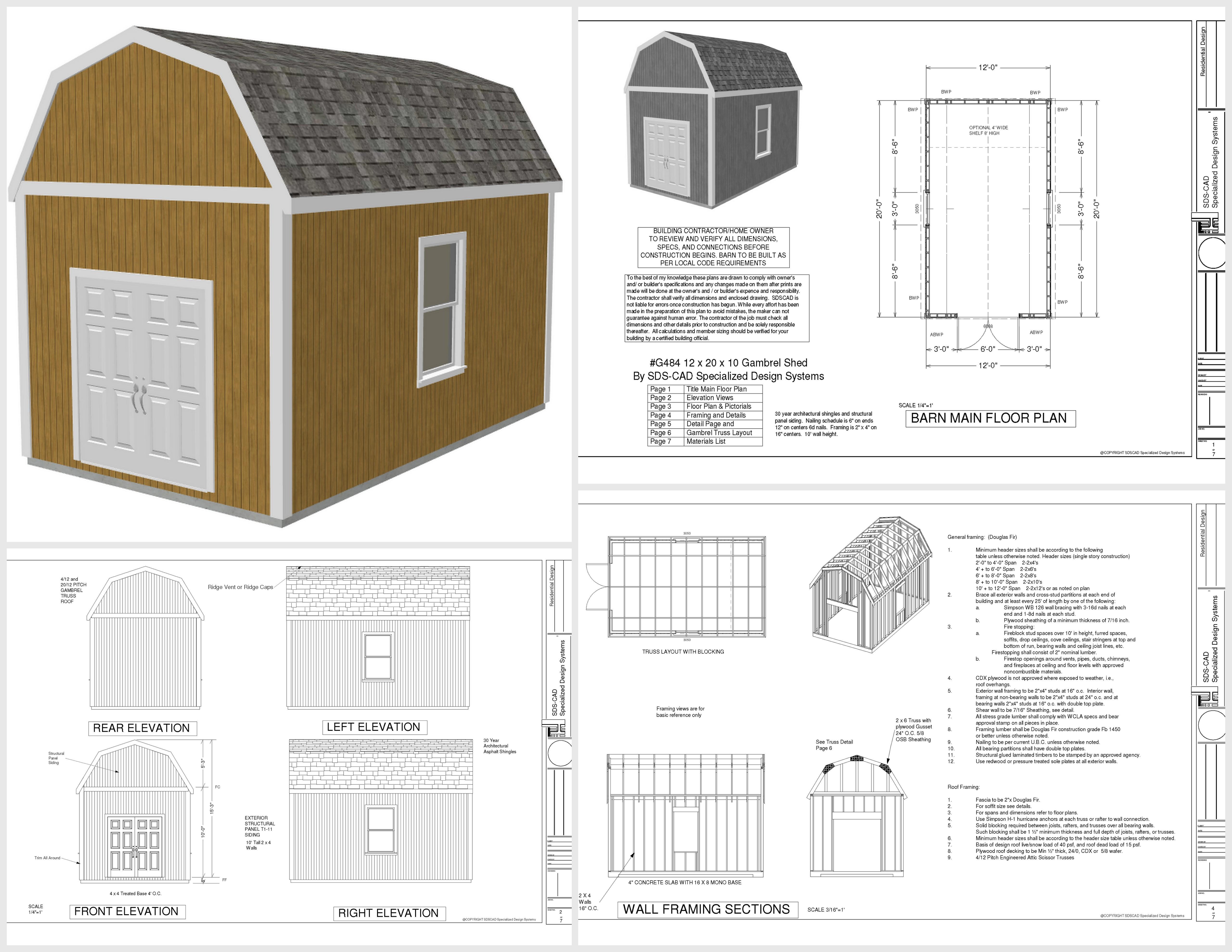 G530 12 X 20 X 10 Slab Gambrel Barn DWG And PDF